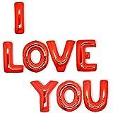 Valentines I Love You Baloons: Decorazioni di San Valentino - Palloncini ad elio con lettere rosse grandi con scritta I love you, 8 lettere giganti di 45cm ciascuno