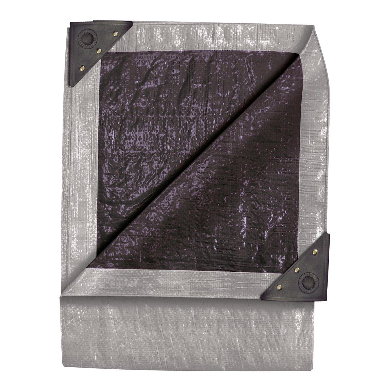 Silver//Black TEKTON 6338 12-Foot by 24-Foot Double Duty Tarp