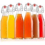 Tebery 6 Pack Clear Swing Top Glass Bottles 16oz Size Leak Proof Easy Caps Bottle Flip Top Brewing Bottles