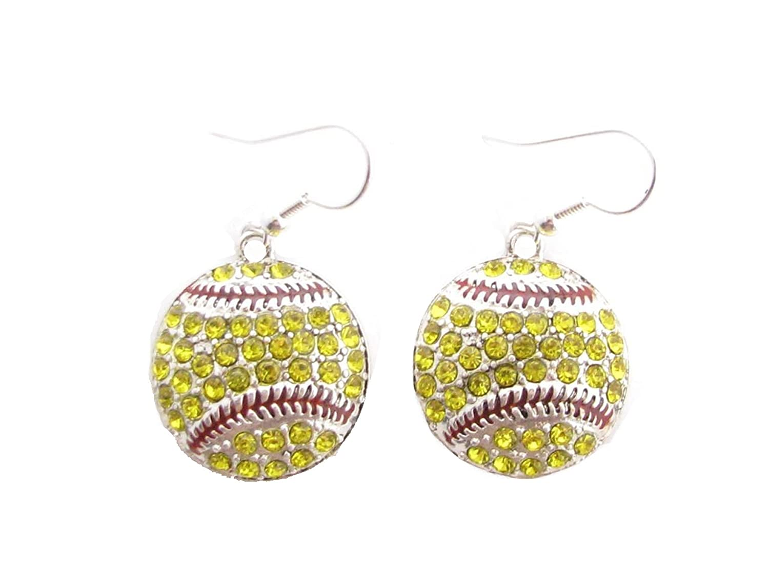 Softball Yellow Crystals Red Stitching French Hook Earrings