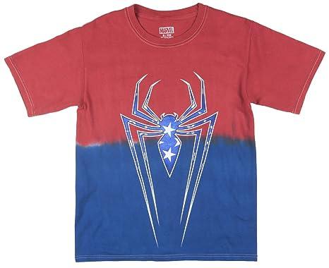bc6e453db Amazon.com: Marvel Spider-Man Men's Americana Ombre Graphic Tee ...