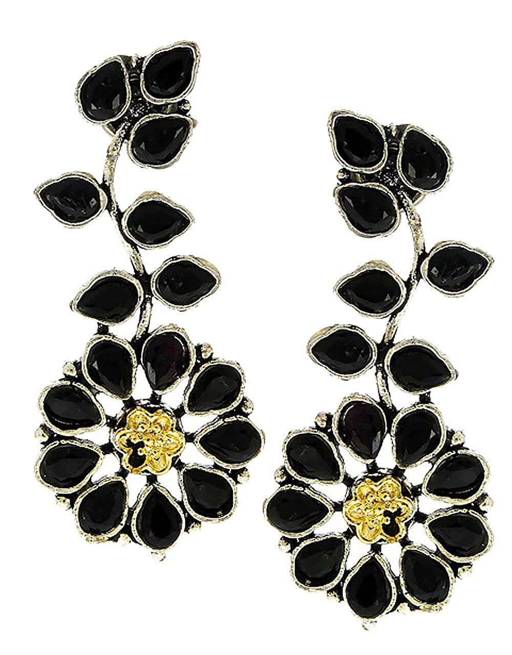 Anuradha Art Black Colour Floral Designer Beautiful Party Wear Oxidised Long Earrings For Women//Girls