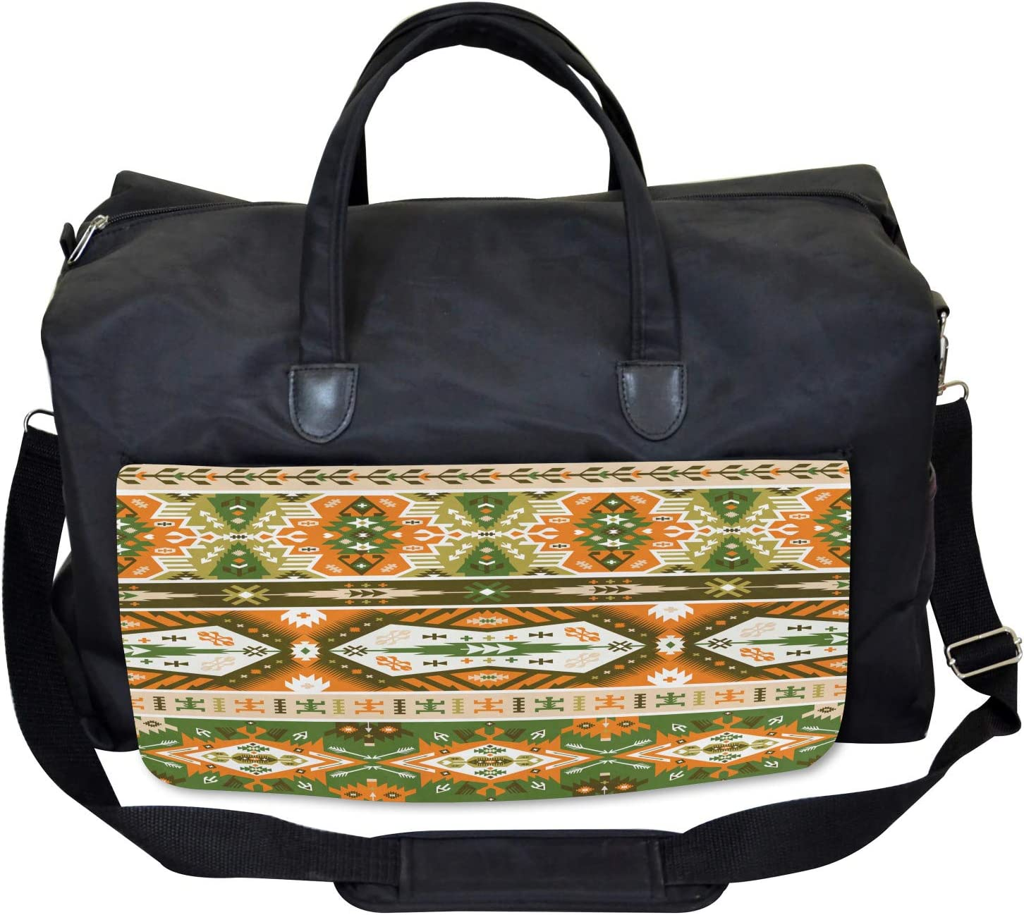 Large Weekender Carry-on Aztec Mayan Style Stripe Ambesonne Tribal Gym Bag