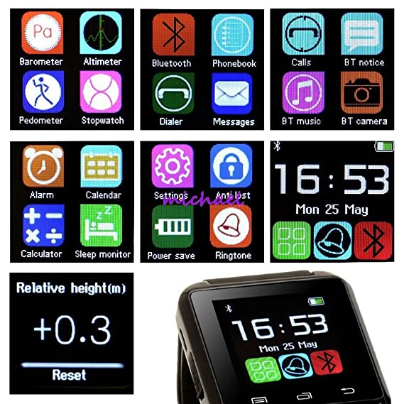 Bluetooth Smart Watch Intelligent Wrist Watch Relojes Inteligente for Andriod Phones (black)