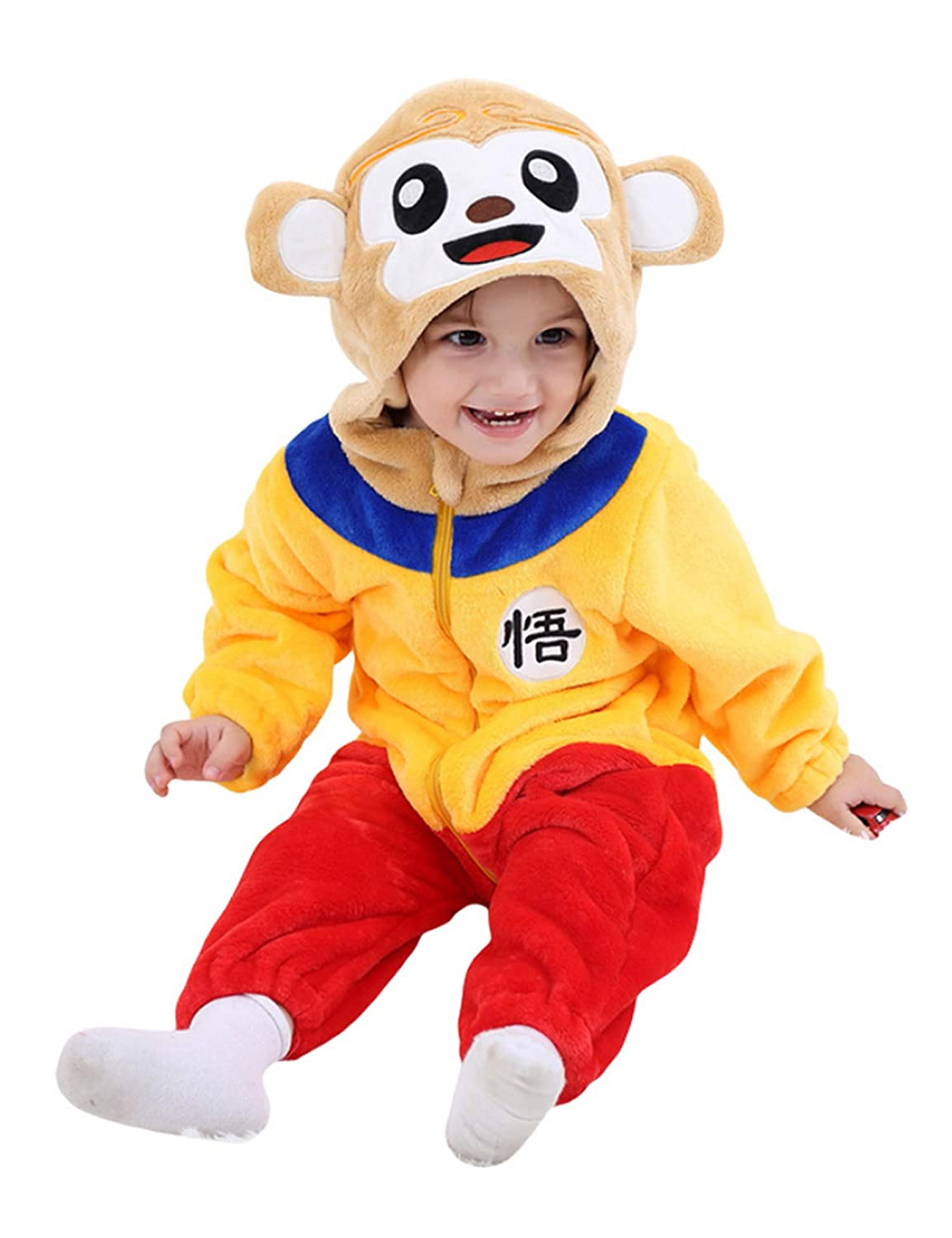 D.B.PRINCE Unisex Baby Flannel Hooded Animal Cosplay Pajamas Outfit Homewear