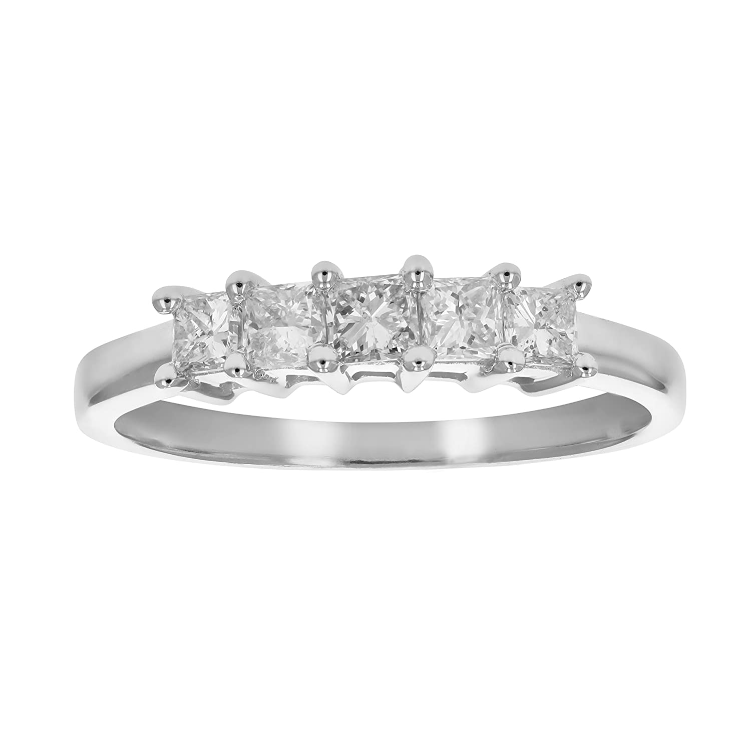381d602efa0aa 1/2 CT 5-Stone Princess Diamond Ring in 14K White Gold