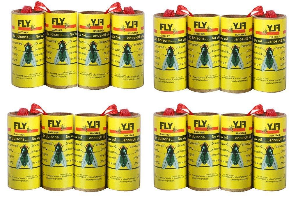 16 Fliegenfänger Rollen, Insektenfalle, giftfrei, umweltfreundlich, hygienisch - 4 Packungen (16 Stück) 16 Fliegenfänger Rollen Plai
