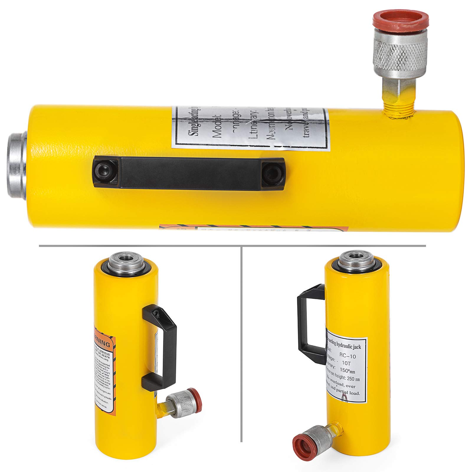 Mophorn 10T 6'' Stroke Hydraulic Cylinder Jack Solid Single Acting Hydraulic Ram Cylinder 150mm Hydraulic Lifting Cylinders for Riggers Fabricators (10T 6'') by Mophorn (Image #4)