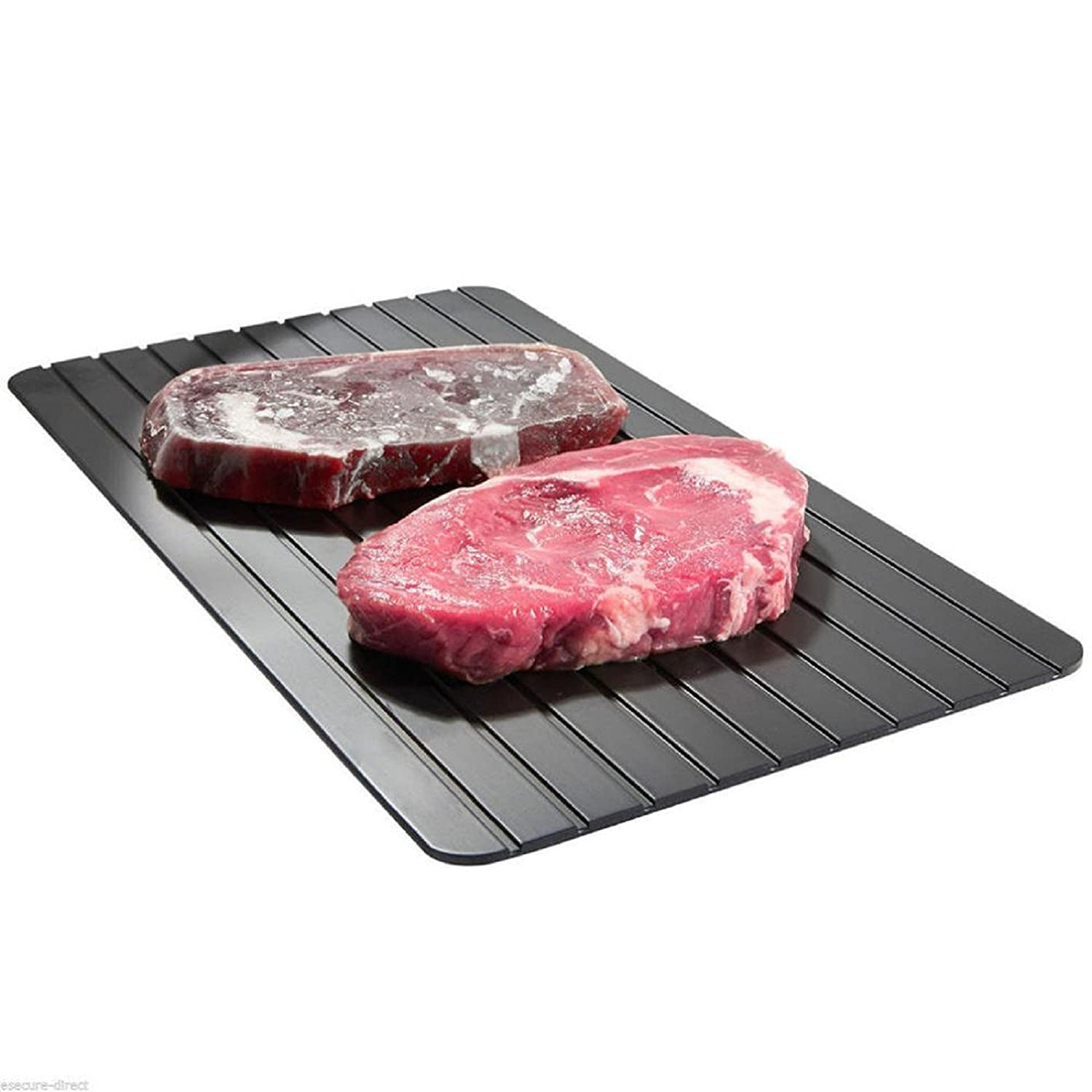 Owill Fast Defrosting Tray Magic Tray Kitchen Cooking Safest Way to Defrost Meat or Other Frozen Food (Black)