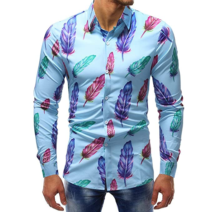Blusa Impresa de la Manera del Hombre Camisas Ocasionales de Manga Larga Slim Tops por Internet: Amazon.es: Ropa y accesorios