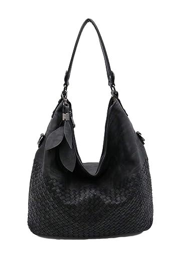 1f520f389f Amazon.com  Lucky Charm Vintage Hobo Style Designer handbag Large Shoulder  Tote Bag for Women (Black)  Shoes