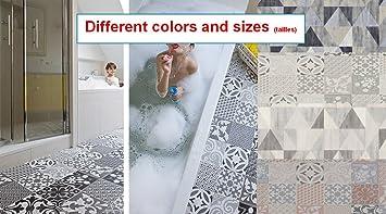 MadeInNature® Tapis PVC Carreaux Ciment/Tapis En PVC Différentes  Tailles/Vinyle Idéal Style