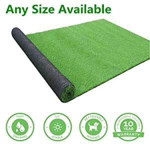 GL Artificial Grass Mats Lawn Carpet Customized Sizes, Synthetic Rug Indoor Outdoor Landscape, Fake Faux Turf for Decor 5FTX10FT(50 Square FT)