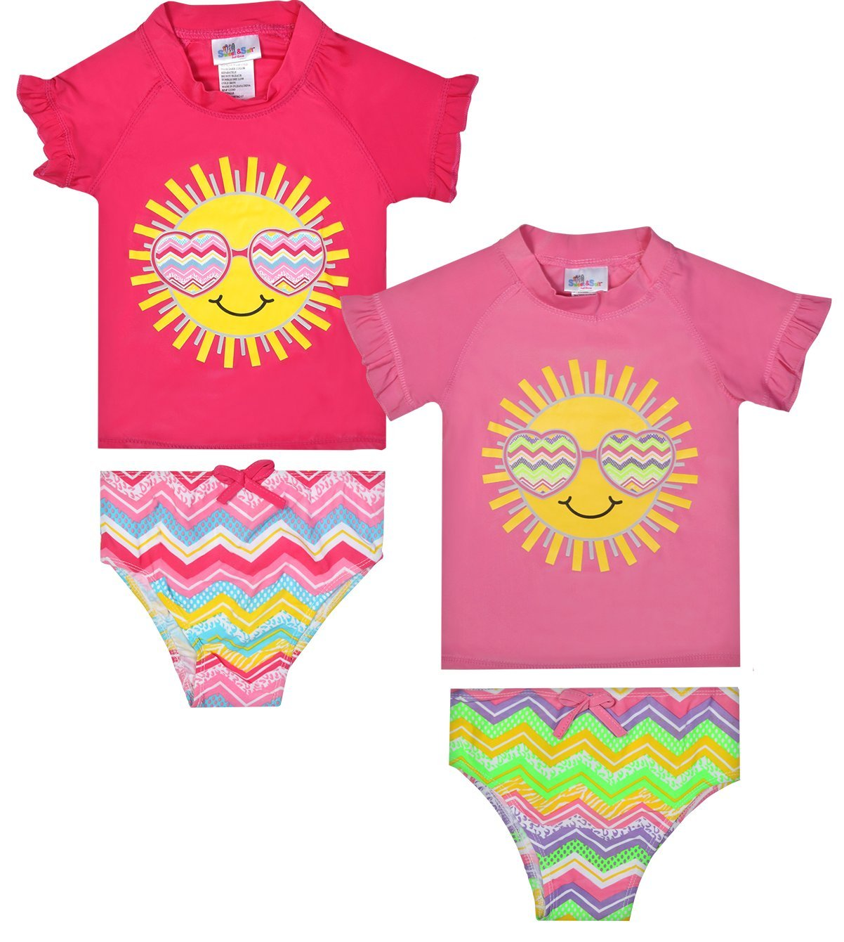 Sweet & Soft Baby Girl's 4-Piece Rash Guard and Bikini Swimsuit Sets, Sunglasses, Toddler (2T)'