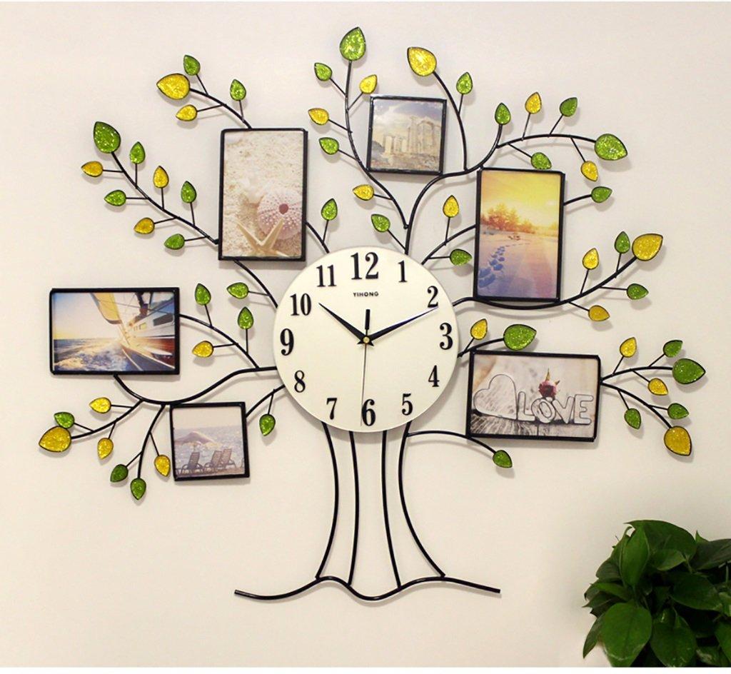 ルミナスヨーロッパのリビングルームモダンな壁時計クリエイティブウォールクロックミュートフレームクロックとウォッチベッドルームパストラルパーソナリティデコレーション B07FNCH7CD