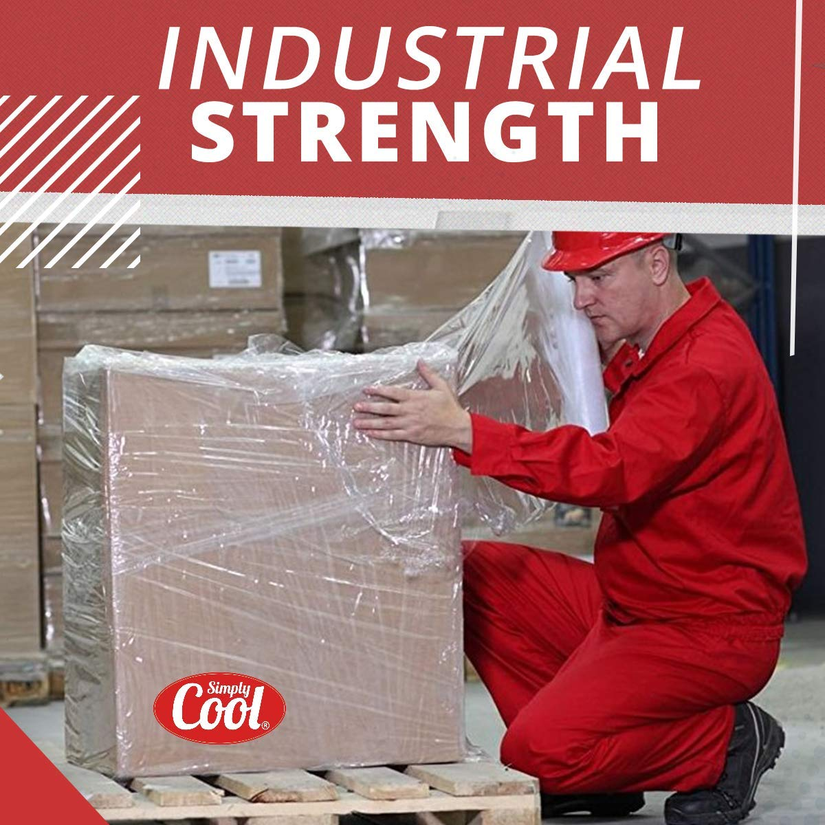 Stretch Wrap with Handle Industrial Strength 4 Pack 15'' x 1000 Ft | 80 Gauge Thick (20 Micron) Clear Cling Plastic Pallet Supplies | Self - Adhering ● Packing ● Moving ● Heavy Duty Shrink Film Rolls by Simply Cool