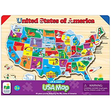 Amazon.com: The Learning Journey Lift & Learn USA Map Puzzle: Toys ...