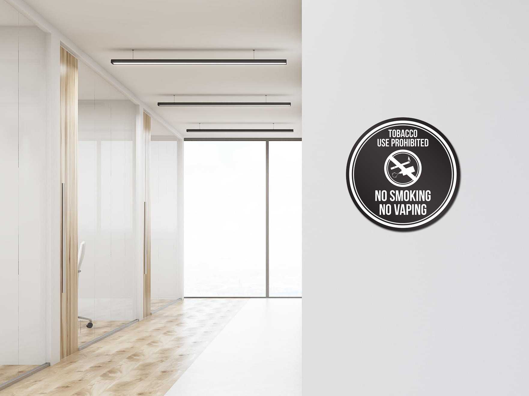 iCandy Products Inc Tobacco Use Prohibited No Smoking No Vaping Black and White Safety Warning Round Sign - 12 Inch, Plastic by iCandy Products Inc (Image #2)