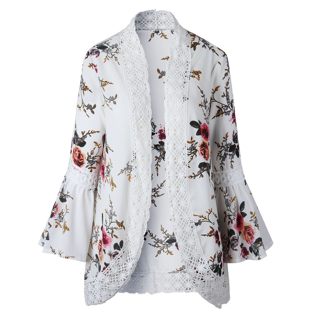 YANG-YI Women Lace Floral Open Cape Casual Cardigan Loose Blouse Kimono Cardigan Beach Dress