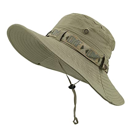 fb2f4760786 Amazon.com  LETHMIK Fishing Sun Boonie Hat Waterproof Summer UV Protection Safari  Cap Outdoor Hunting Hat  Clothing