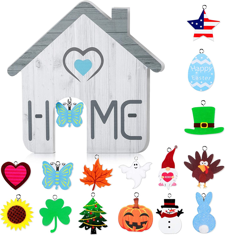 Home Interchangeable Decorative Sign Seasonal Home Wooden Sign DIY Home Table Decoration Set with 15 Pieces Holiday Signs Wooden Decorative Sign for Room Table