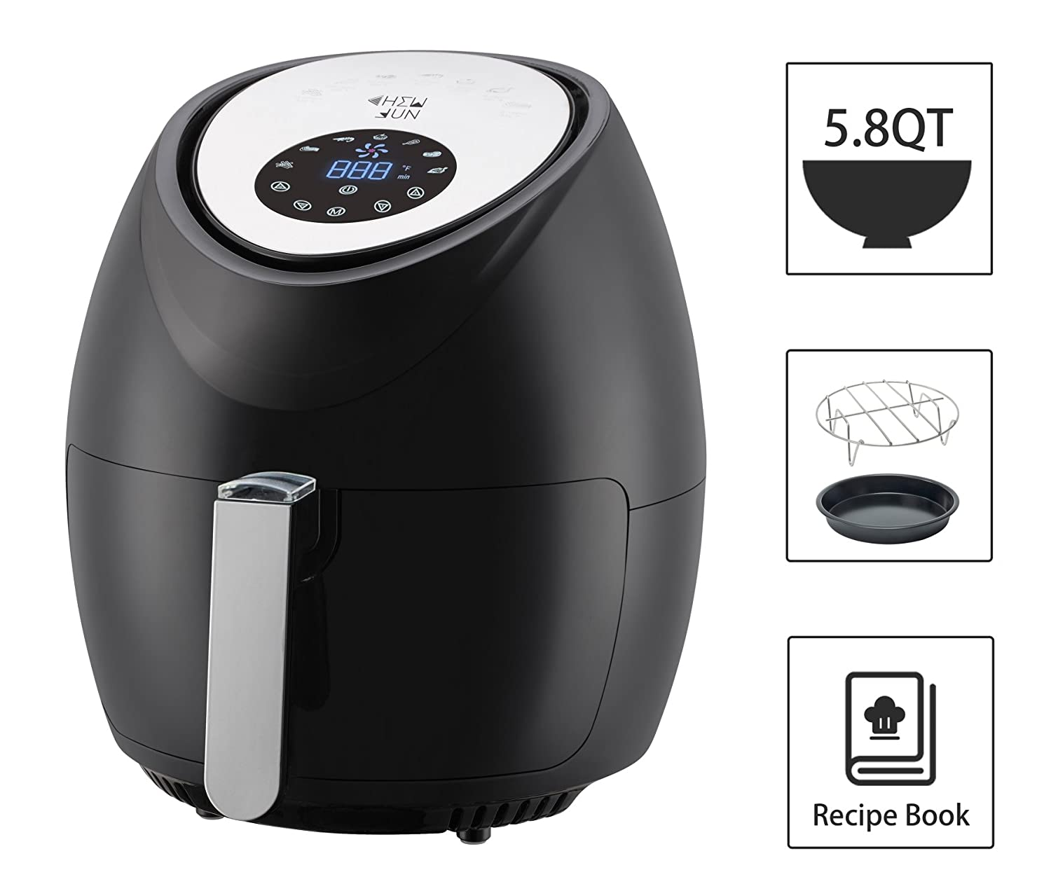 5.8 Quart Digital XL Air Fryer with 7 Cooking Settings, 2 Piece Accessory Set & Recipe Book, Black by CHEW FUN