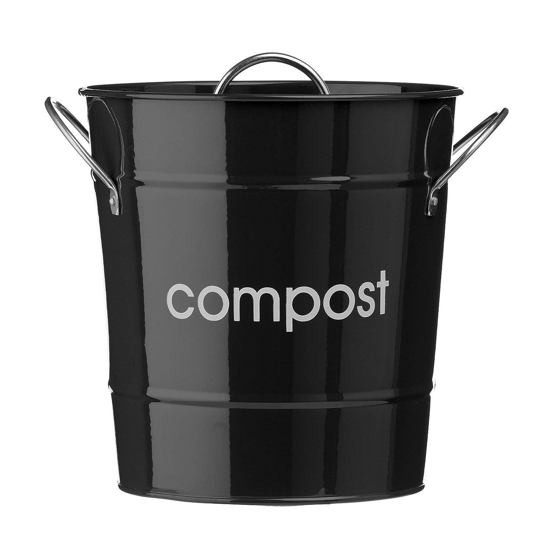 in Acciaio Zincato Rosso Premier Housewares 0510017 Compostiera Secchio di Plastica Interno Maniglie in Zinco