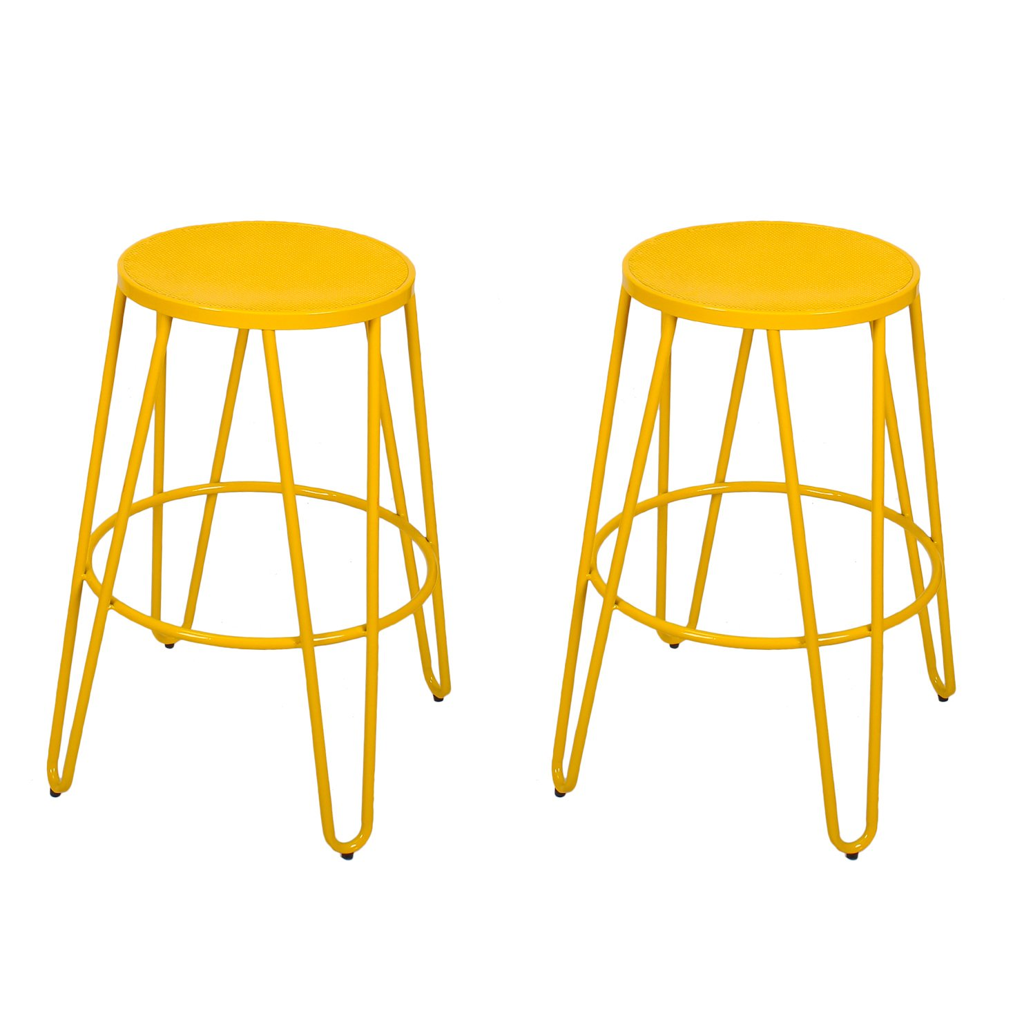 Adeco Yellow 26 Inch Metal Counter Stools Set Of Two Ebay