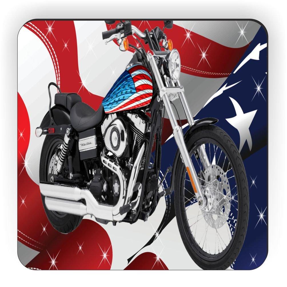 Rikki Knight American Flag Harley Davidson Design Square Fridge Magnet