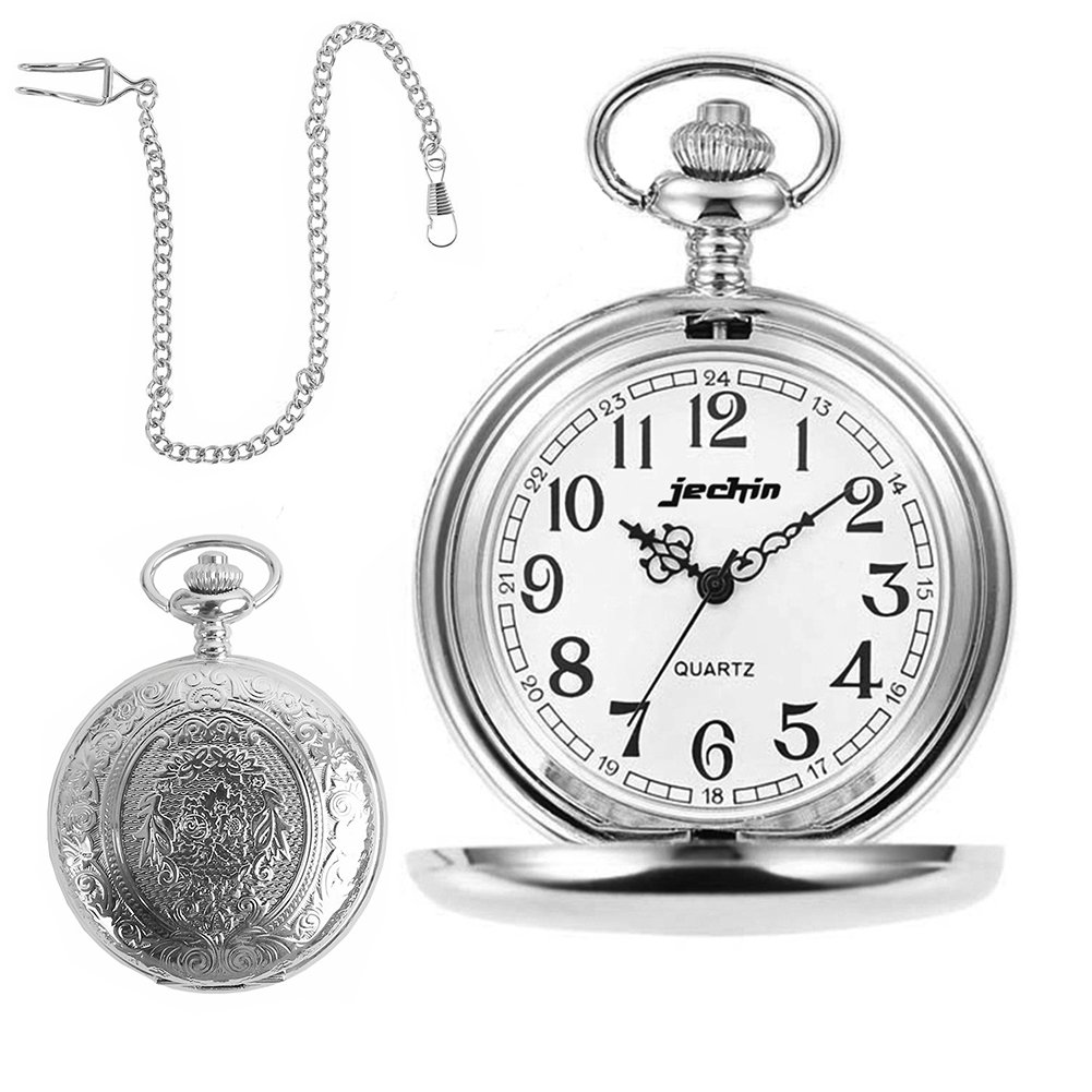 | Jechin Classic Stainless steel Vintage Pocket Watch with Beautiful Gift Box