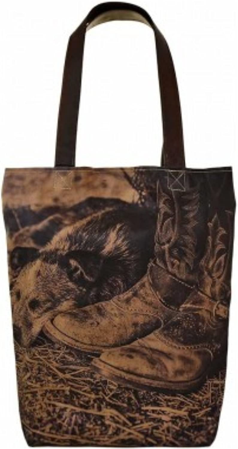 Vintage Addiction Napping Dog Country Scene Recycled Canvas Tote Purse Handbag