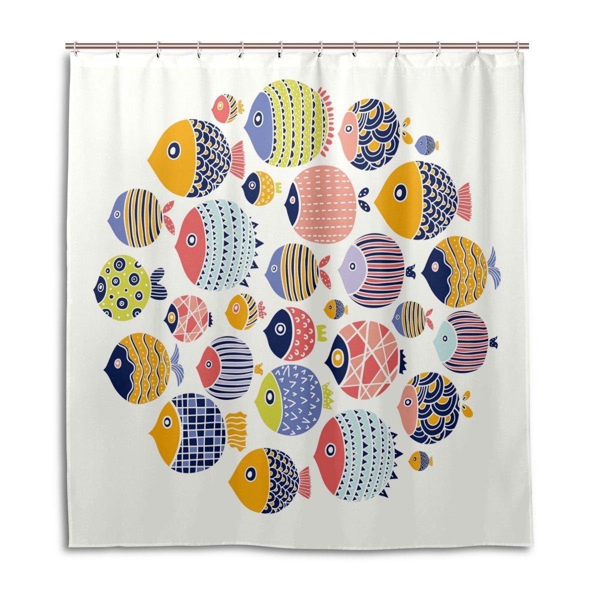 Amazon Com Colorful Tropical Fish Cute Bath Curtain Shower Curtains
