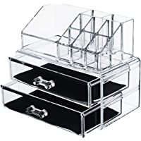 Acrylic Vanity Makeup Storage Organizer - Clear 2 bottom case drawers cosmetic beauty make up jewelry brush sponge…