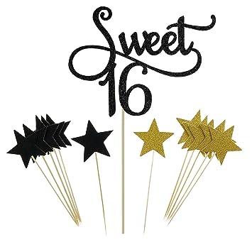 Amazoncom Shxstore Black Monogram Sweet 16 Cake Topper Glitter