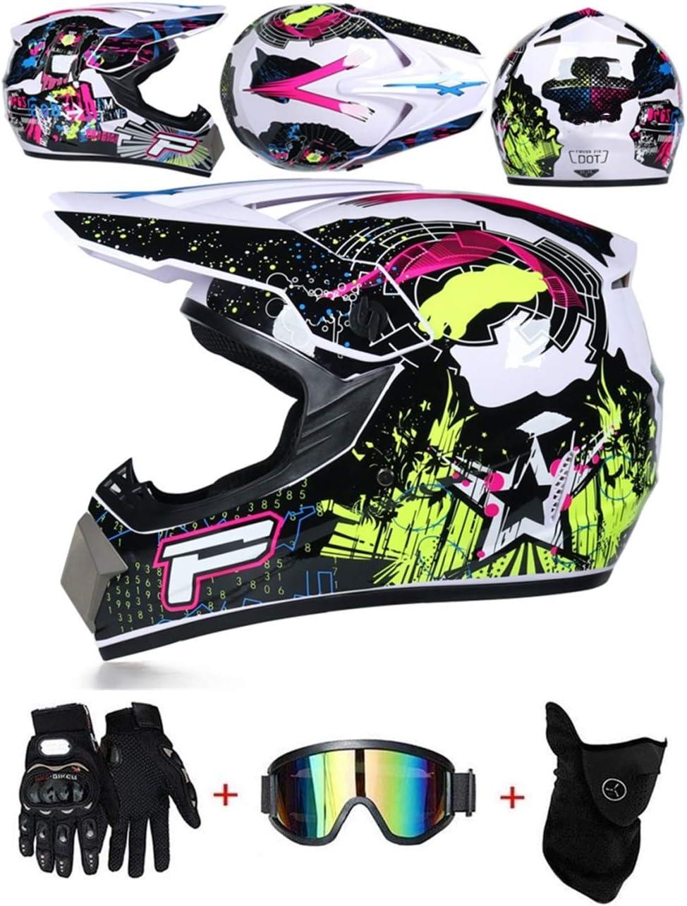 LZSH Casco de motocross profesional motocross MX casco de motocross casco de moto casco de moto casco y guantes & máscara gafas de protección, ECE homologado niños quad bike ATV go-kart-helm (E,XL