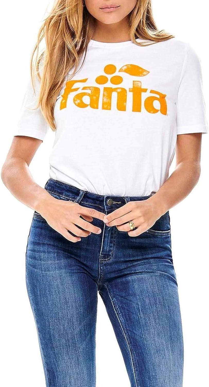 Only Camiseta Fanta Blanco Mujer XL Blanco: Amazon.es: Ropa y accesorios