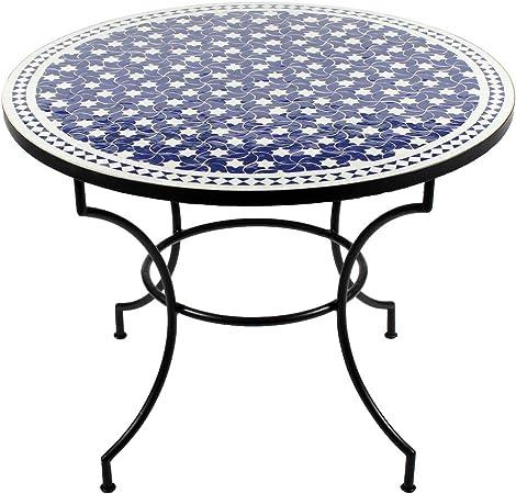 Albena Marokko Galerie 15-110 Maar - Mesa de mosaico marroquí (redonda, diámetro de 100 cm), color azul y blanco: Amazon.es: Jardín