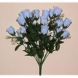 18 head BABY BLUE rose buds artificial flower bush weddings/graves by Permabloom