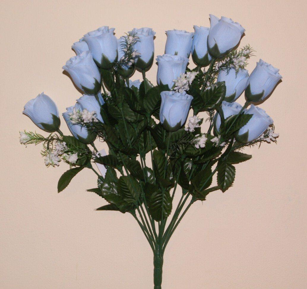 18 Head Baby Blue Rose Buds Artificial Flower Bush Weddingsgraves