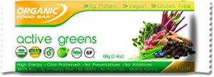 Organic Food Bar - Active Greens Protein Bars, USDA Organic Protein Bar with Superfood Blend (Pack of 12, 2.4 Ounce)
