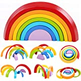 Lewo Wooden Rainbow Learning Toy Geometry Building Blocks Educational Puzzle Toy 7 Pcs