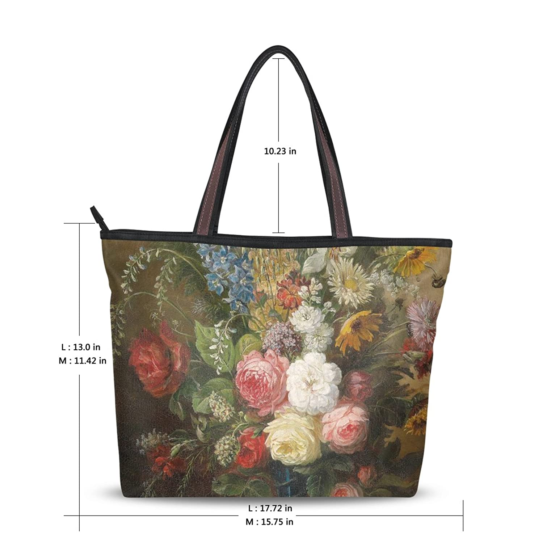 Yochoice Women's Shoulder Bags,Retro Vintage Art Floral Oil Painting,Tote Bag Design 188