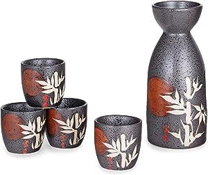 Happy Sales, Japanese Style Sake Set With 12 fl oz Porcelain Sake Tokkuri Bottle Decanter and Four Ochoko Cups Drinkware Gift Set (GreyBambooMoon)