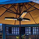 ART TO REAL Electric Patio Parasol Umbrella Heater, Folding Outdoor Electric Infrared Space Heater with 3 Heating Panels…