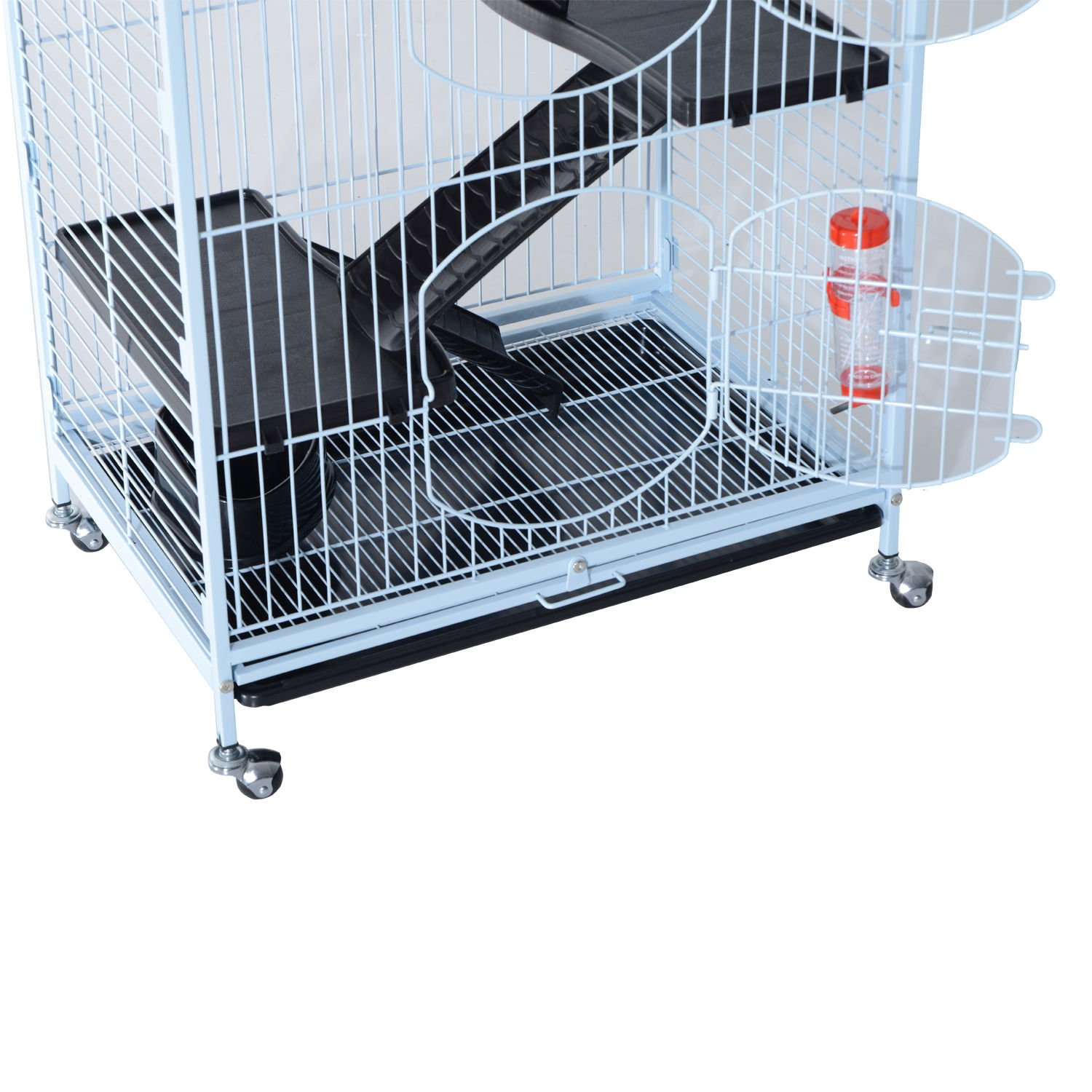 PawHut 37'' 4 Level Indoor Portable Pet Habitat Small Animal Cage Kit With Plastic Shelves And Ramps - White by PawHut (Image #4)