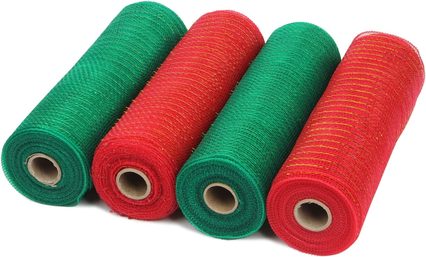LaRibbons Deco Poly Mesh Ribbon - 10 inch x 30 feet Each Roll - Metallic Foil Red and Green Rolls for Wreaths, Swags and Decorating - 4 Pack