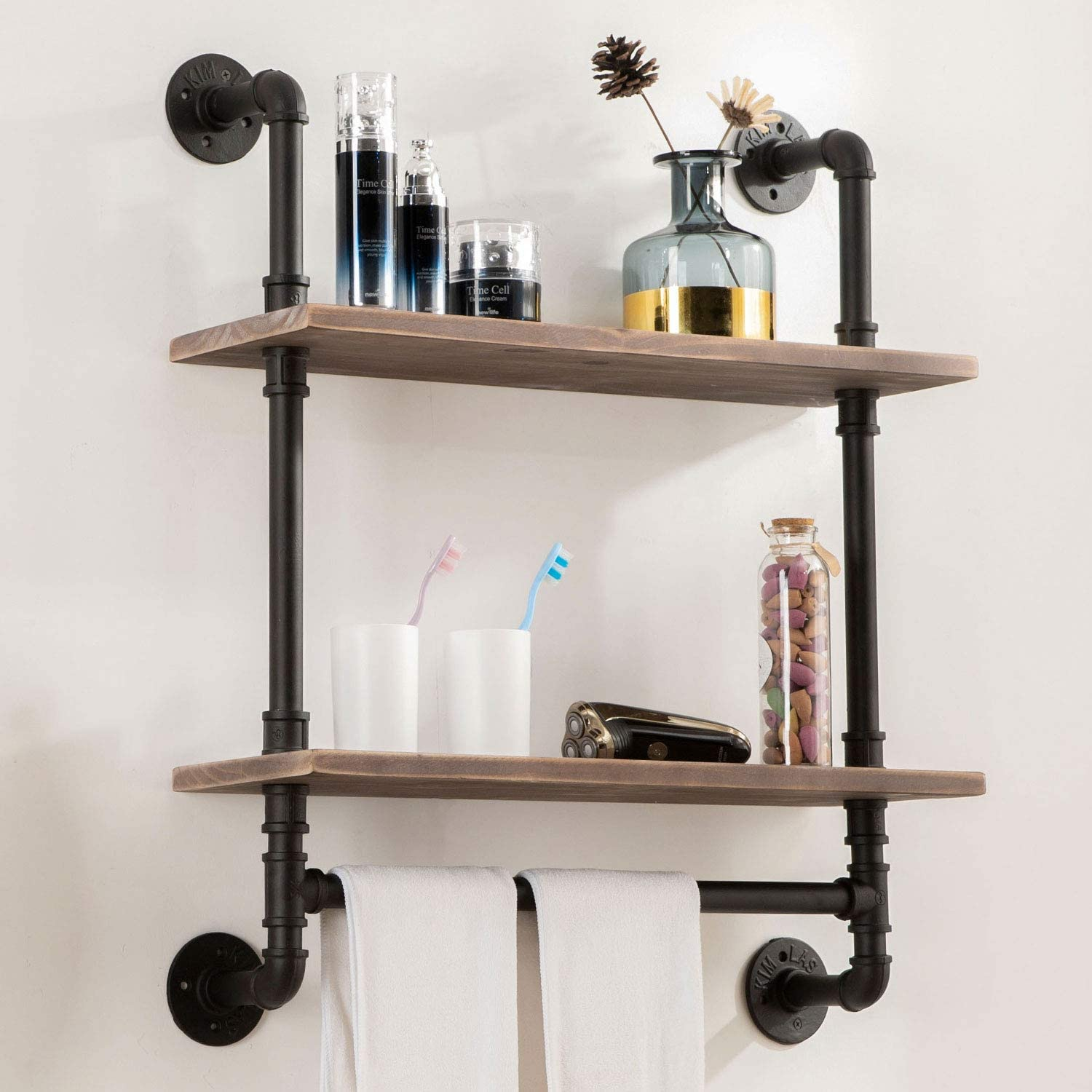 Industrial Pipe Shelving,Iron Pipe Shelves Industrial Bathroom Shelves with Towel bar,24 in Rustic Metal Pipe Floating Shelves Pipe Wall Shelf,2 Tier Industrial Shelf Wall Mounted with Hook ROGMARS