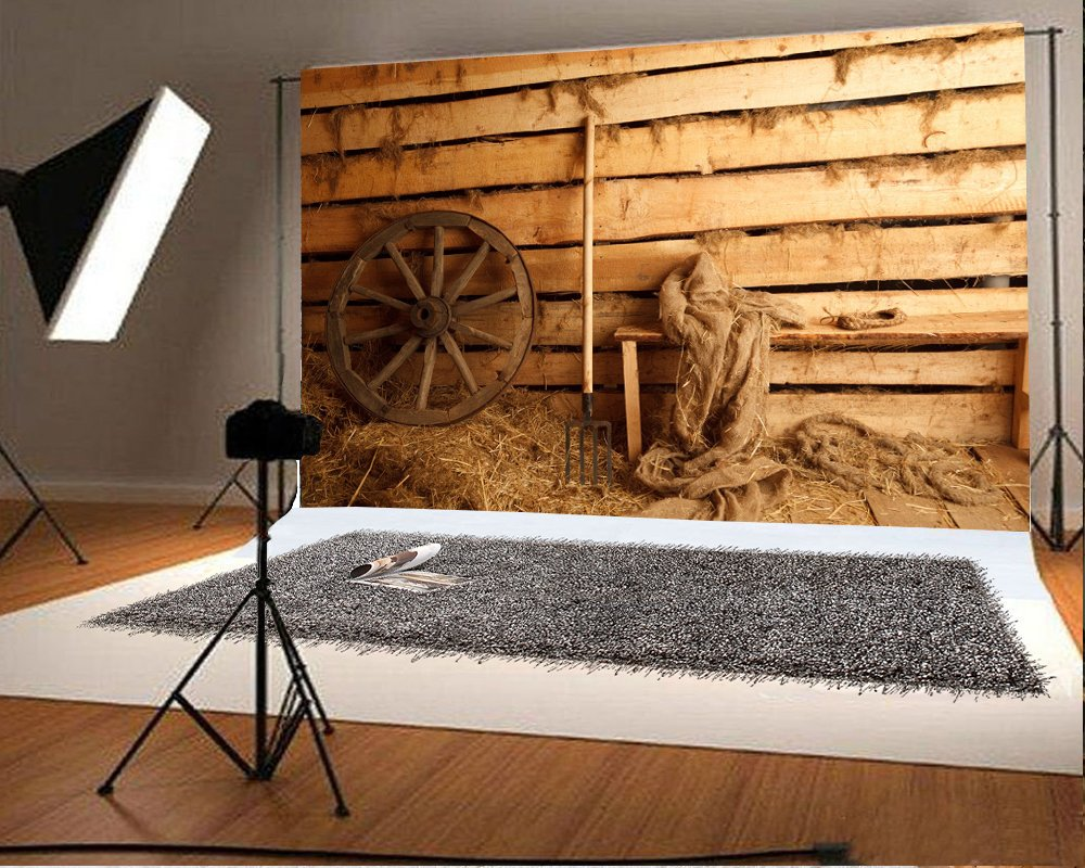 7x5ft Vintage Old Barn Backdrop Rustic Tractor Shabby Straw Hay Bale Farm Tool Retro Wooden Door Interior West Cowboy Photography Background Kids Adults Photo Studio Props