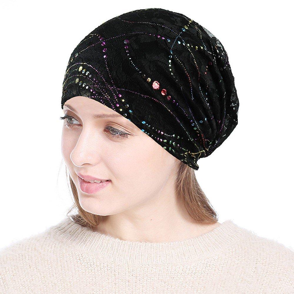 Women's Chemo Headwear Lace Headscarf Turban Hat Multicolo Head Scarf Wrap Pile Cap