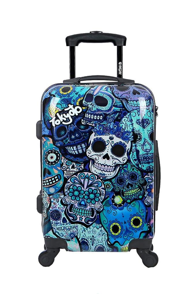 Maleta de Cabina Equipaje de Mano 55x40x20 Maleta Juvenil Trolley de Viaje Ryanair Easyjet Maleta de Viaje Rígida Blue Skulls (Preparada para Cargar Móviles) TOKYOTO Luggage